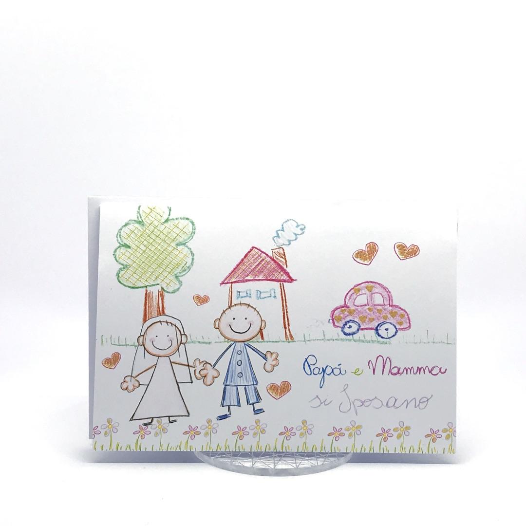 Partecipazione Matrimonio su cartoncino bianco rettangolare F1259