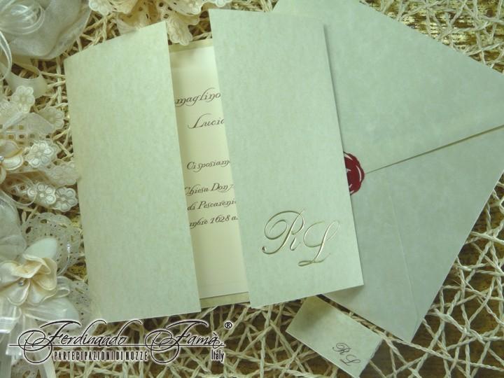 Partecipazione di Nozze in cartoncino pergamenato avorio  F1081