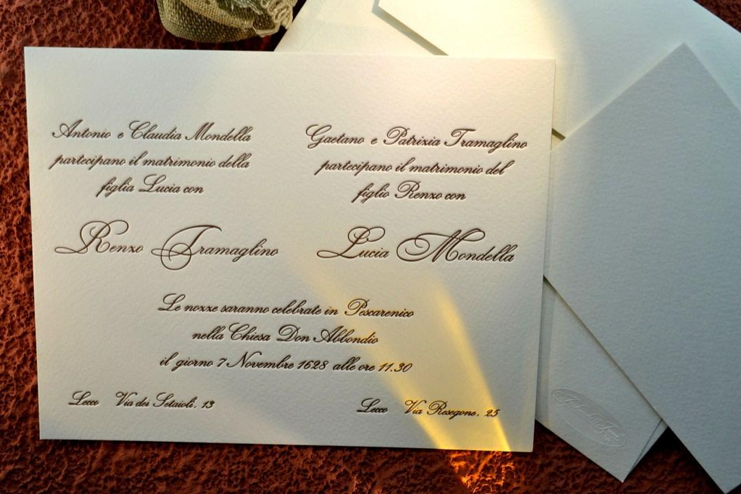 Matrimonio Com Partecipazioni.Partecipazione Di Matrimonio Su Cartoncino 800 Gr Letterpress1