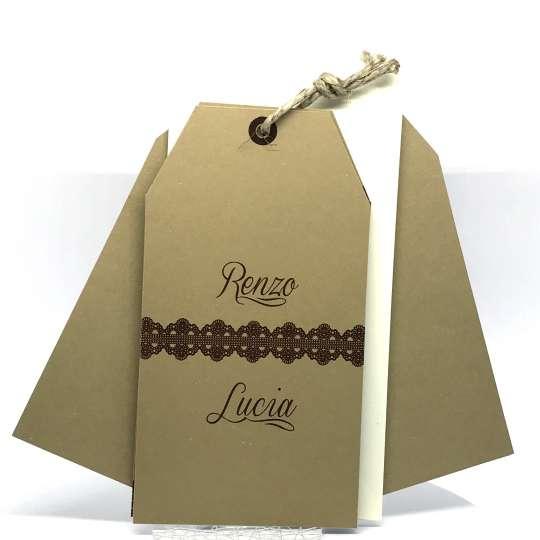 Partecipazione di nozze cartoncino caffè con decori in termorilievo F1332