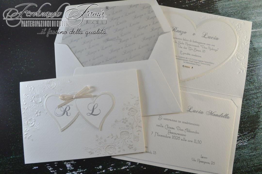 Partecipazione di nozze in carta modigliani con decori floreali e cuori 96360