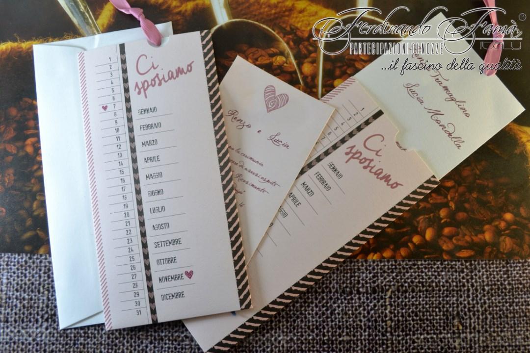 Partecipazione di nozze rettangolare rosa a calendario 96368