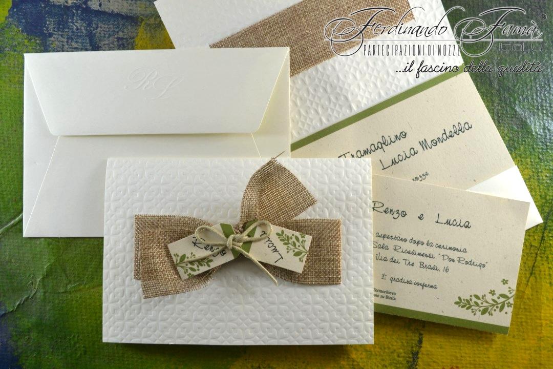 Partecipazione di nozze rettangolare in stile ecologico 96372