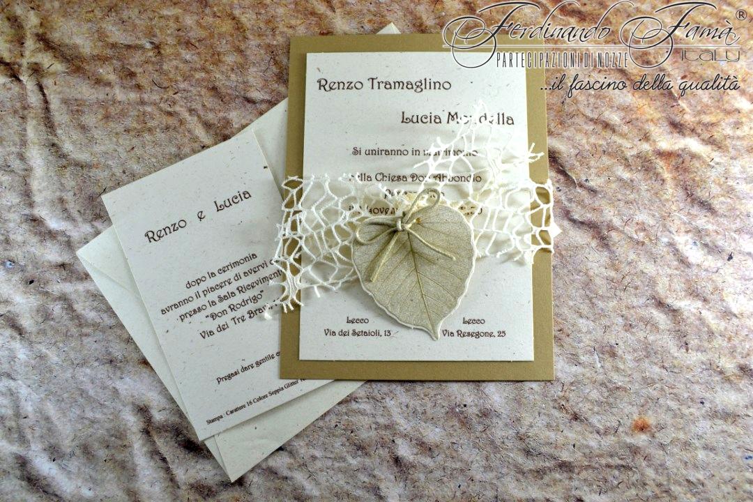 Partecipazione di nozze rettangolare con foglia e nastro a rete 96374