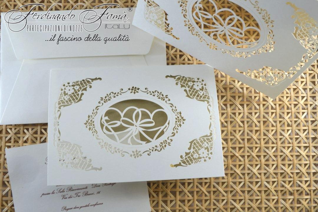 Partecipazione di nozze rettangolare con esterno taglio laser ed interno in carta ottone 96380