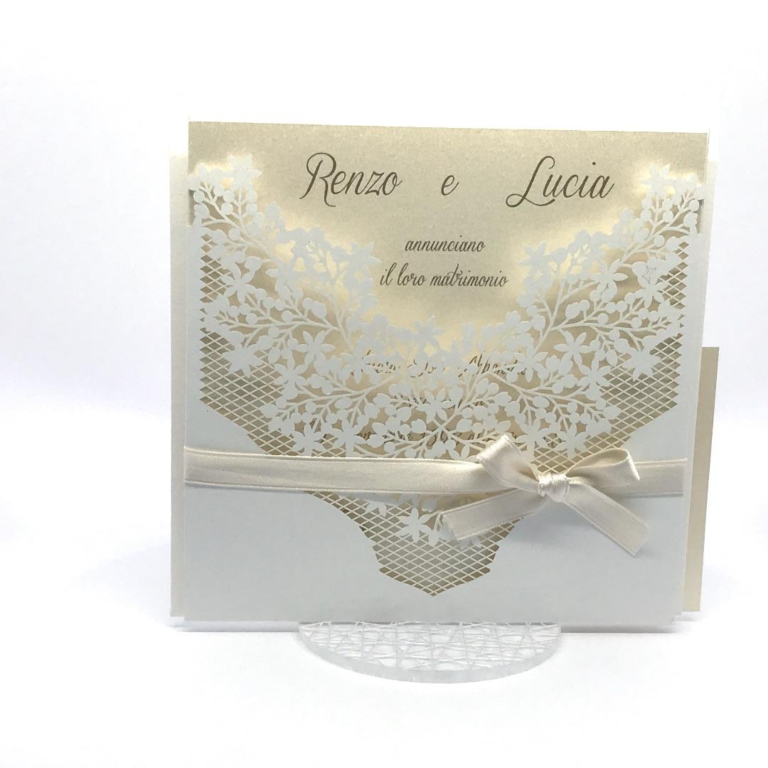 Partecipazione di nozze taglio laser bianca F1004