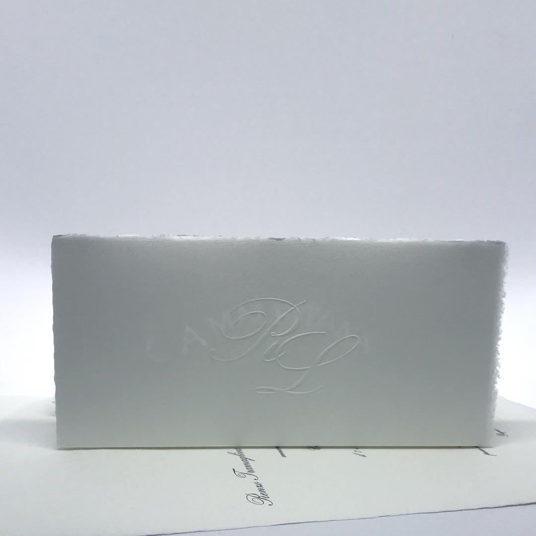Partecipazione Matrimonio su carta amalfitana rettangolare bianca PLB29/B