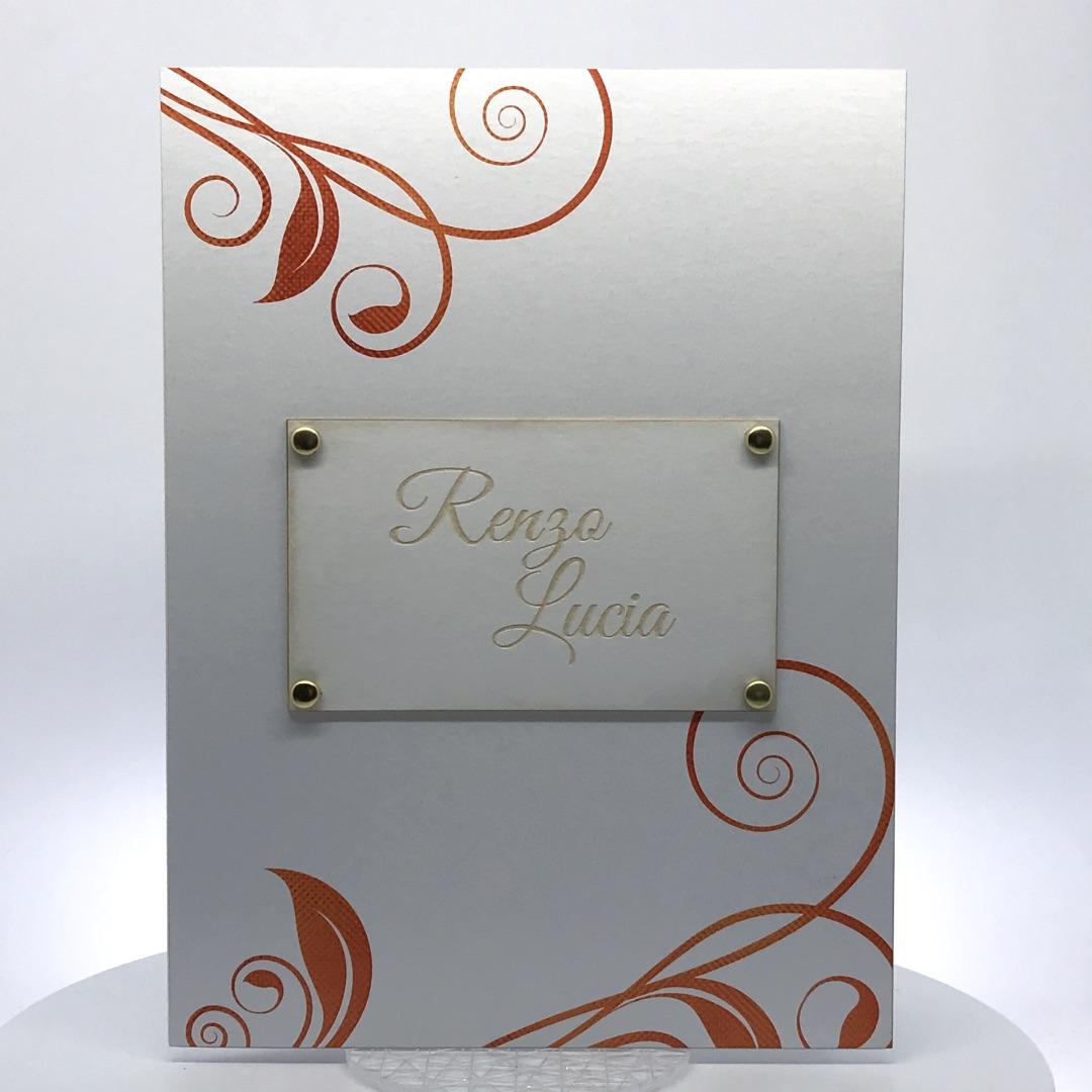 Porta foto sposi in cartoncino Modello Target Riccioli di Rame
