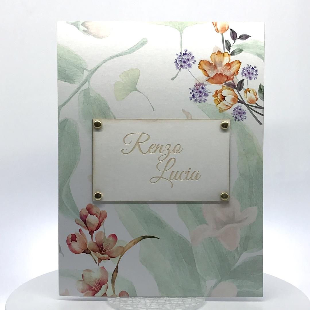 Porta foto sposi in cartoncino Modello Target Vintage Flowers 2