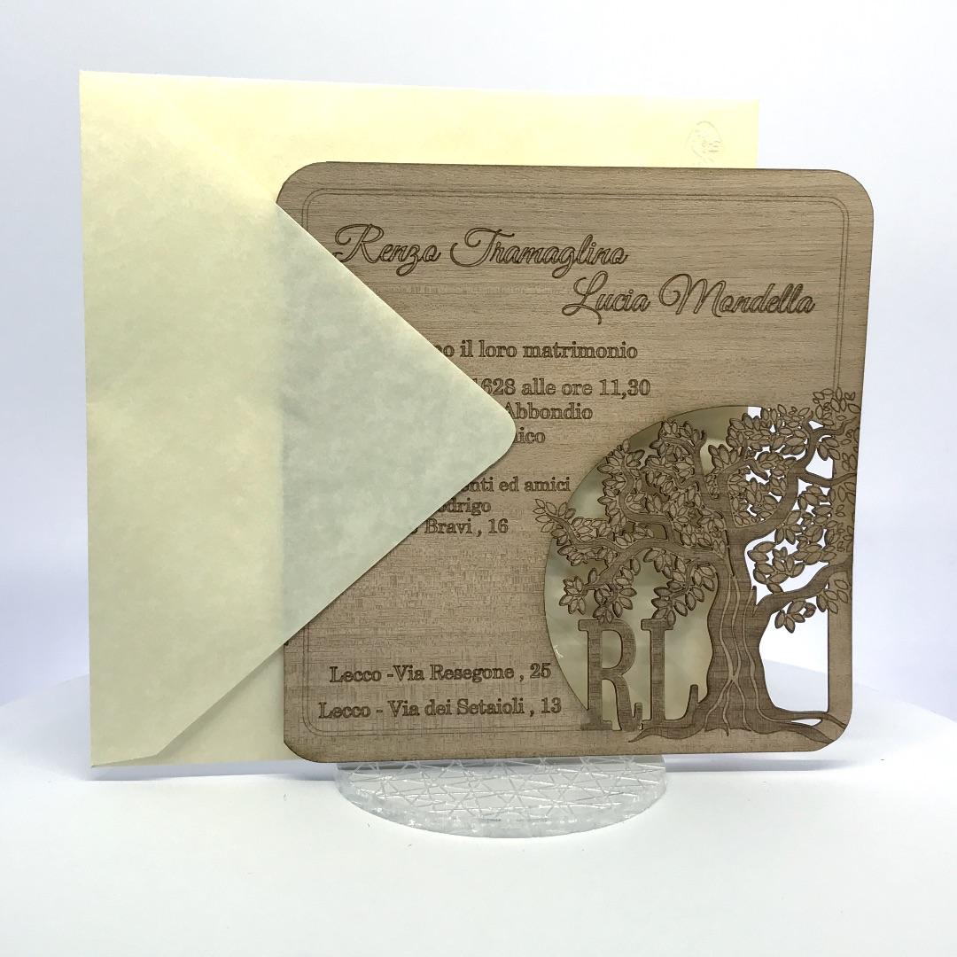 Partecipazioni Matrimonio Laser Albero della Vita – Cod. F1602