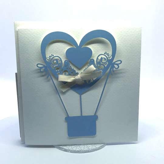 Partecipazioni Matrimonio Mongolfiera Azzurra – Cod. F1607