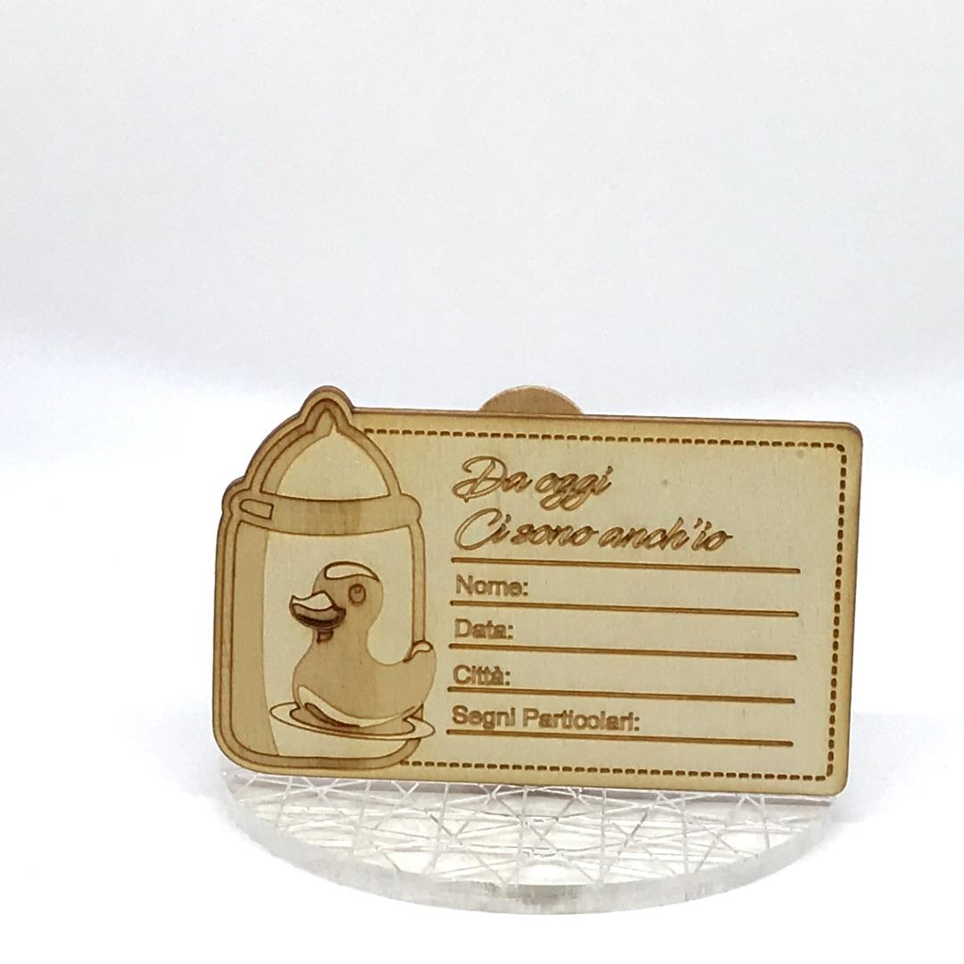 ricordino nascita in legno carta d'identità con biberon