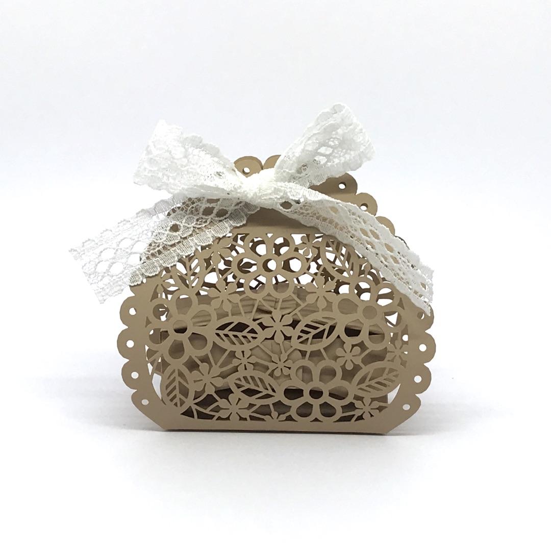 scatolina fiore porta confetti tortora