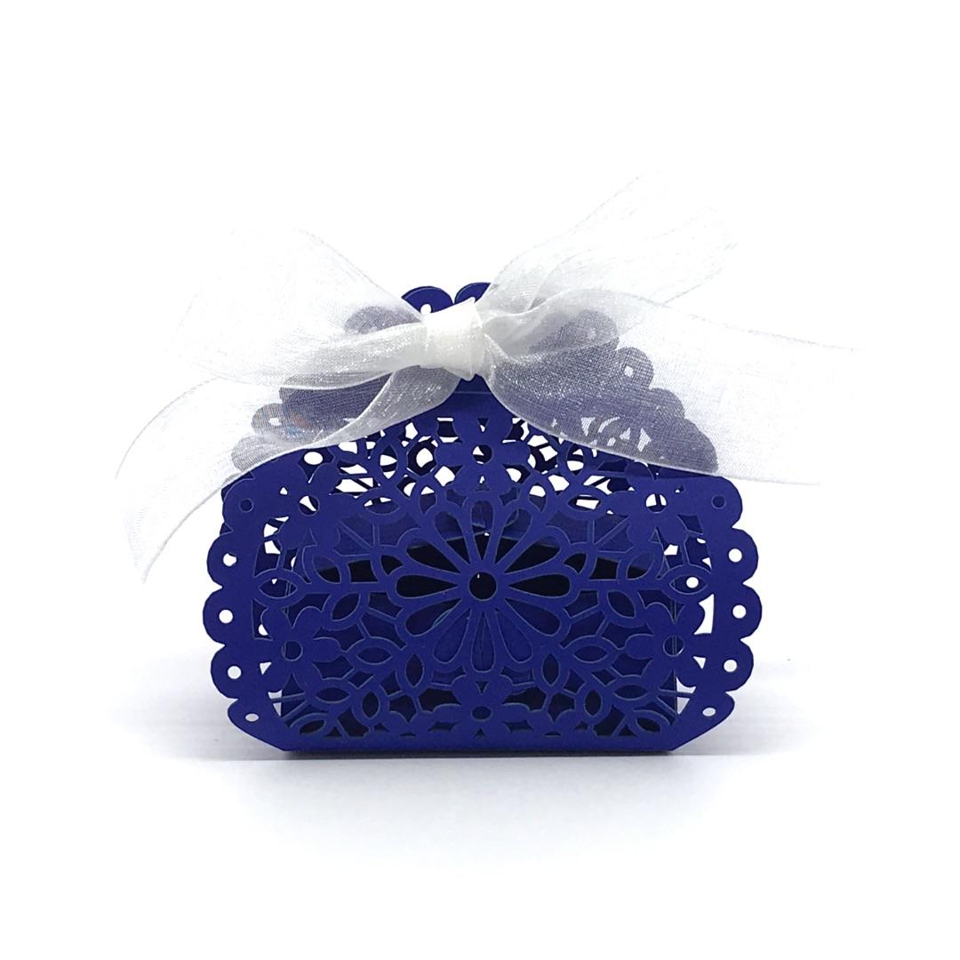 scatolina fiore porta confetti blu elettrico