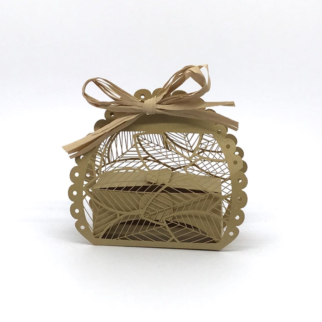 scatolina porta confetti Foglie in carta marrone
