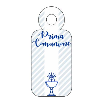 tag bomboniera comunione maschietto cartoncino bianco stampa azzurro