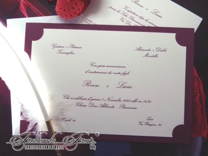 Partecipazione di Matrimonio su cartoncino bianco e vinaccia F1092