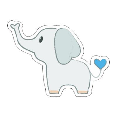 Etichetta bomboniera per nascita battesimo a forma di elefantino dalla coda azzurra (per maschietto)
