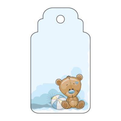 Etichetta bomboniera per nascita battesimo rettangolare con orsetto su sfondo azzurro
