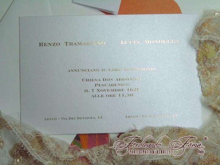 Partecipazione di Matrimonio su cartoncino rettangolare metallizzato F1099
