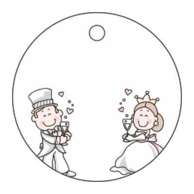 Tag per bomboniera matrimonio di forma tonda con sposini colorati spiritosi