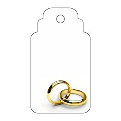 etichetta bomboniera per matrimonio rettangolare con fedi dorate