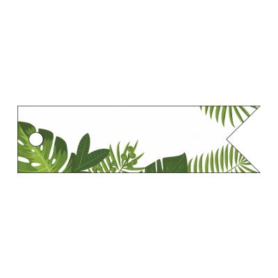 Etichetta bomboniera rettangolare a forma bandierina con decori di fogli varie tonalità del verde