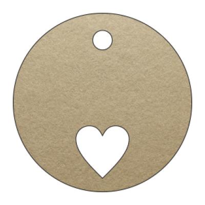 etichetta bomboniera forma tonda con foro in carta marrone con cuore realizzato a taglio laser