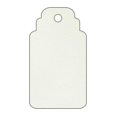 Etichetta per bomboniera rettangolare con foro in carta martellata bianca