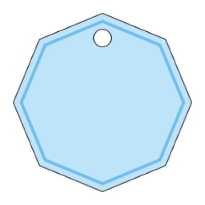 Tag bomboniera cartoncino banco con fondo celeste con foro forma geometrica