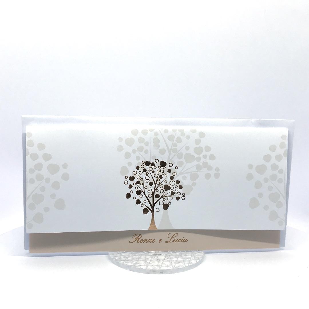 Partecipazione di nozze bianca e cipria con albero stilizzato a caldo rame F1433