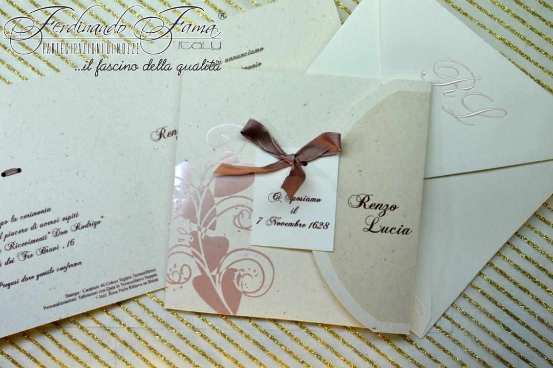 Partecipazione di nozze quadrata in carta tipo riciclata tonalità rosa F1442