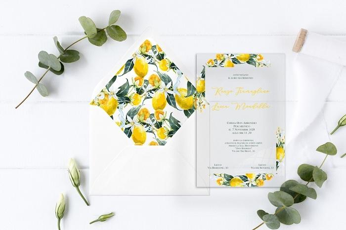 partecipazione f41 in plexiglass trasparente con limoni stampati nei colori bianco, giallo e verde