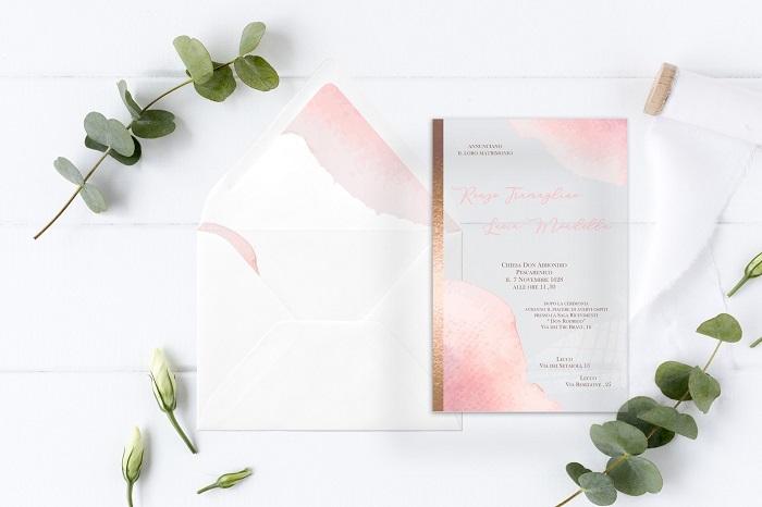 Partecipazione f46 in plexiglass trasparente stampa in bronzo e rosa