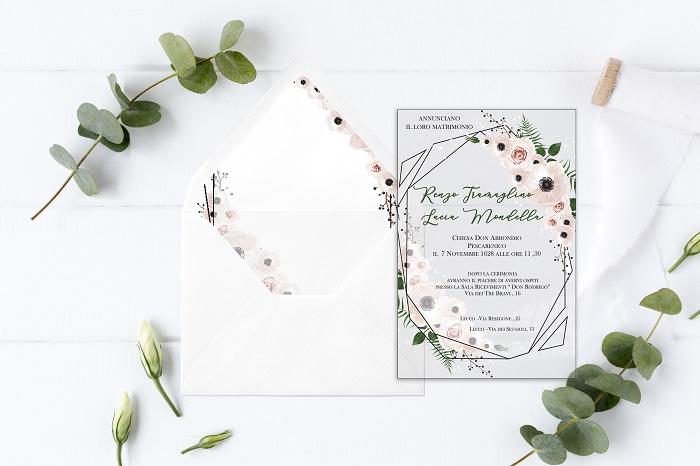 partecipazione f13 in plexiglass decoro floreale in colori pastello