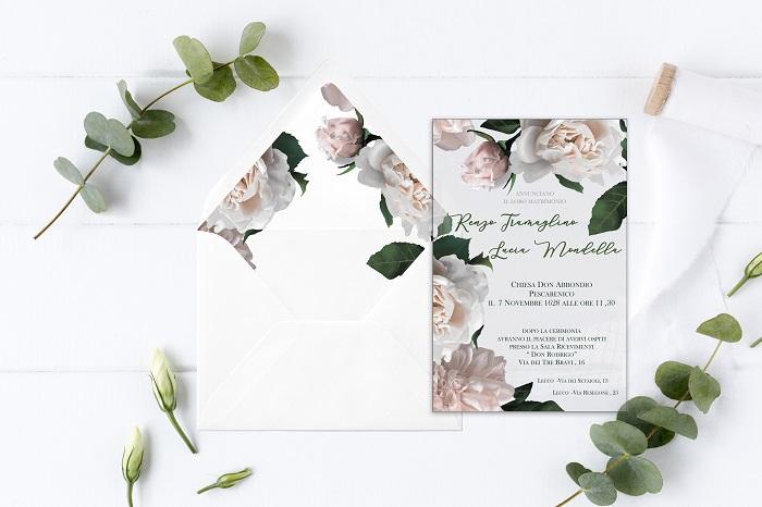 partecipazione f15 in plexiglass trasparente stampata con decoro floreale colori pastello