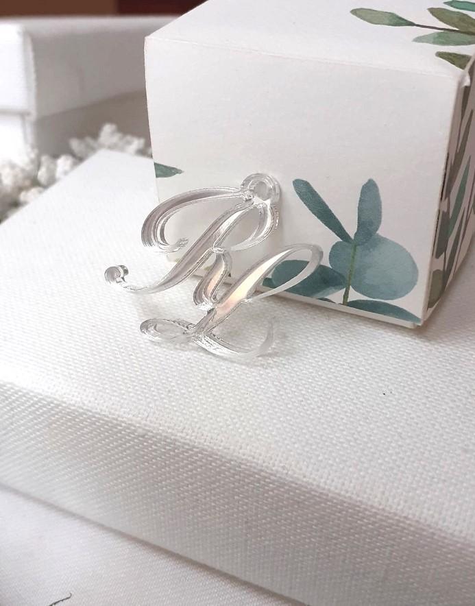 Iniziali degli sposi in plexiglass argento