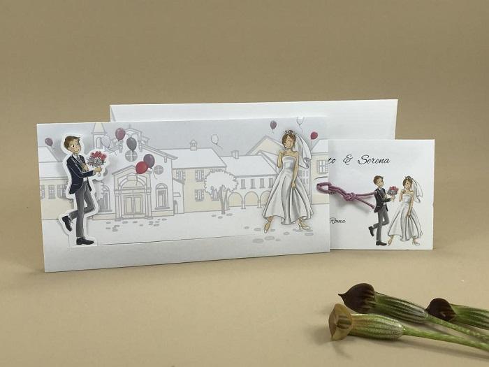 Partecipazione matrimonio spiritosa con sposini in movimento 110.918