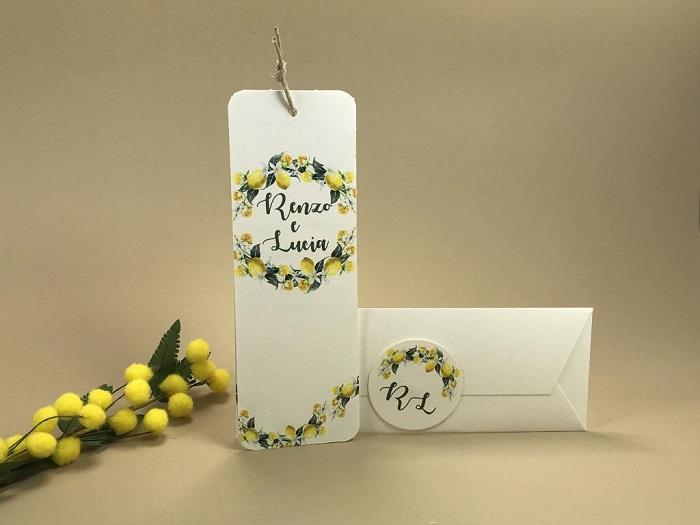 Partecipazioni Matrimonio Segnalibro.Partecipazione Matrimonio Tema Limoni A Segnalibro F1649