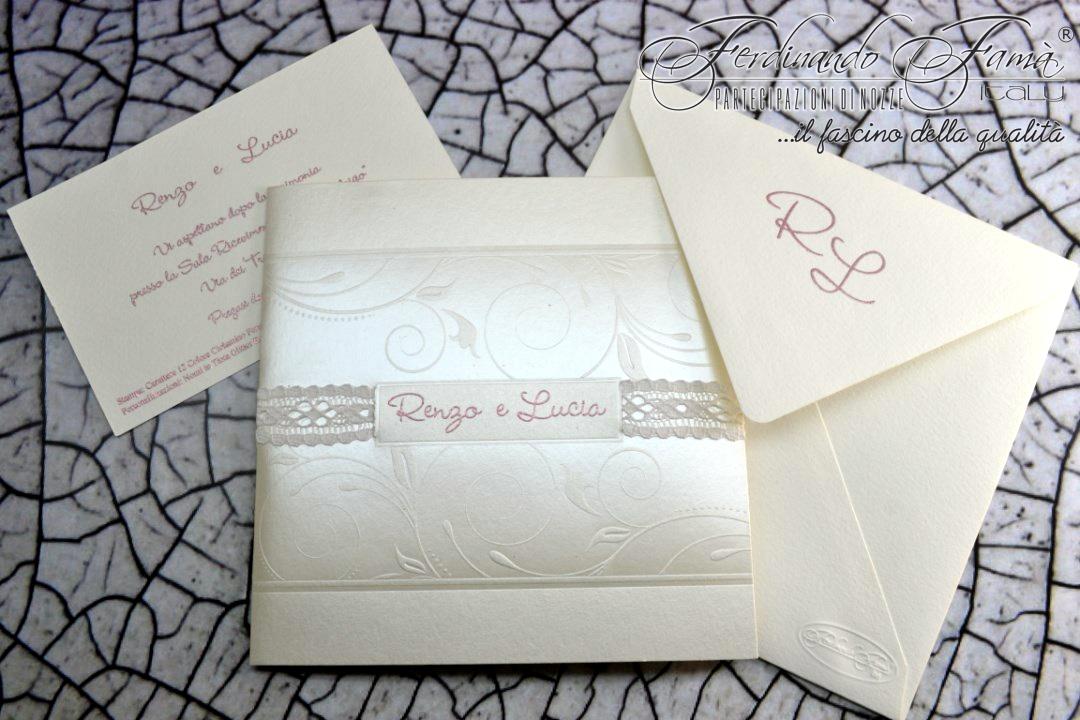 Partecipazioni Matrimonio Con Nastro.Partecipazione Di Matrimonio Quadrata In Carta Metal Bianco E