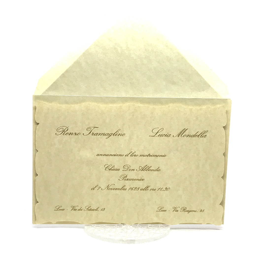 Partecipazioni Matrimonio Pergamena.Partecipazione Di Nozze Su Carta Pergamenata F1006