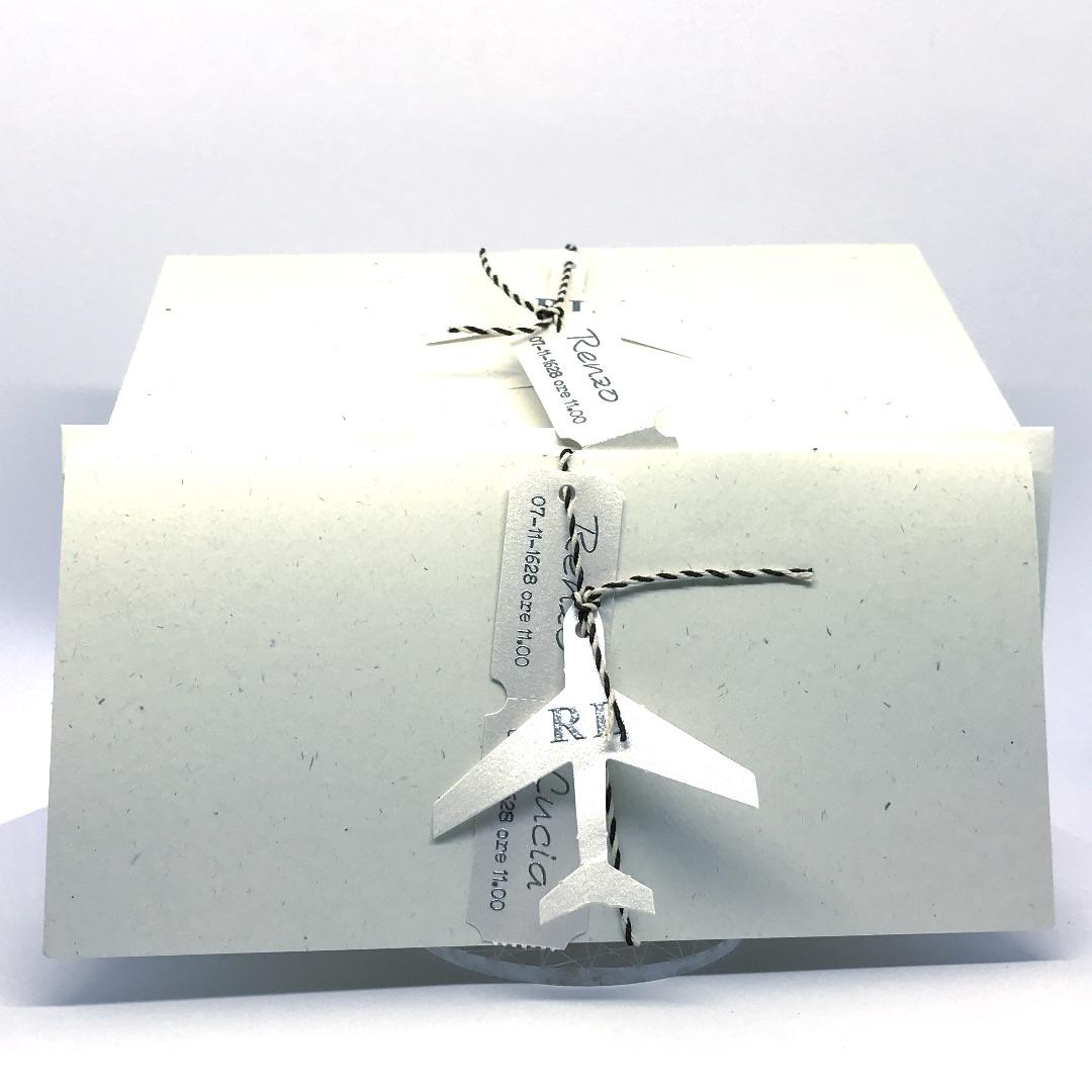 Partecipazione tipo biglietto aereo in carta riciclata F1500