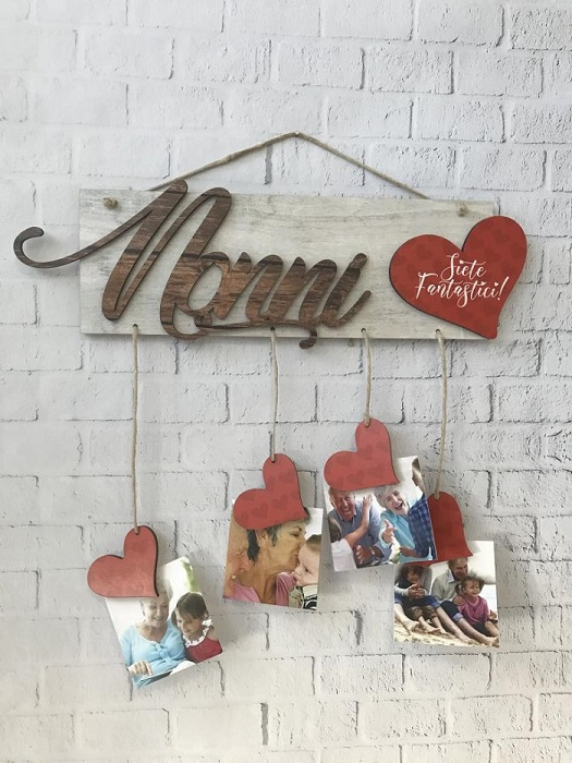 Regalo festa dei nonni portafoto in legno personalizzato