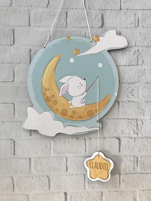 Decorazione personalizzata o fiocco nascita nuvola e stelle