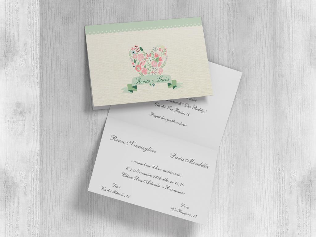 Partecipazione matrimonio rettangolare con cuore e fiori F1515