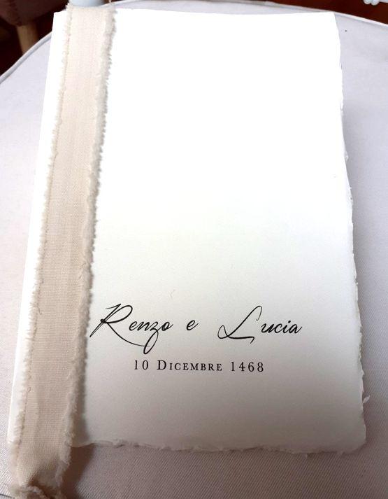Libretto messa matrimonio carta amalfitana bianco personalizzato con nomi sposi e data