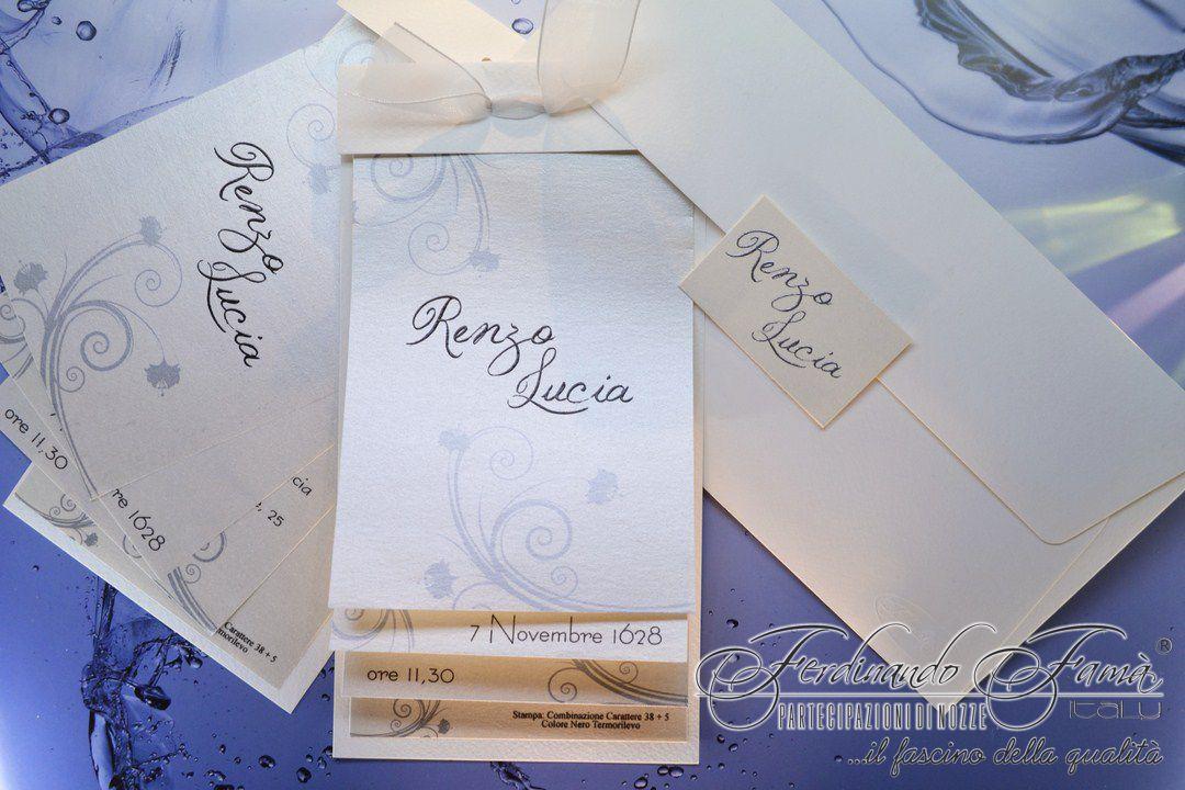 Partecipazione di Nozze su carta metallizzata con fiocchetto  F1222
